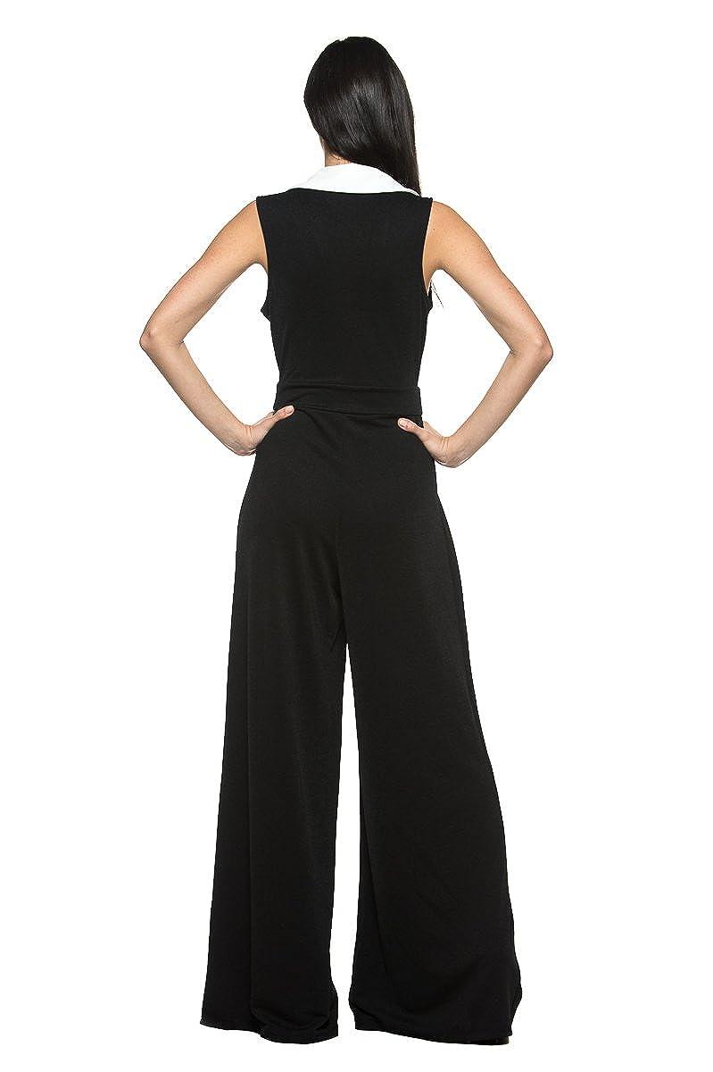 c315677d7811 Amazon.com  Women s Black White Tuxedo Collar Lapel V Neck Wide Leg Pant  Suit Work Jumpsuit (Small)  Clothing