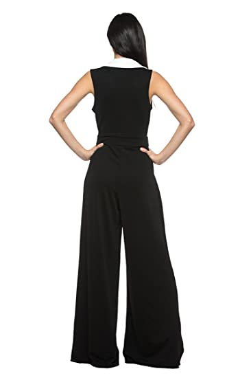 3cae27b8e0f Amazon.com  Women s Plus Black White Tuxedo Collar Lapel V Neck Wide Leg  Pant Suit Jumpsuit (2XL)  Clothing