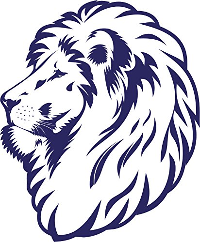 simple-blue-and-white-majestic-lion-cartoon-sketch-vinyl-decal-sticker-12-tall