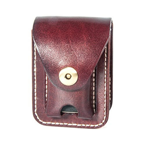 Handmade Genuine Leather Cigarette Box Case with Lighter Holder Pouch Waist Pack ()