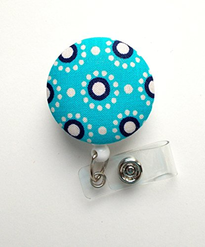 Blue and Navy Circles - Nurse Badge Holder - Flower Badge Reel - Retractable Badge Reel - Teacher Badge - Cute Badge Reel - Hospital Badge - Nurse - Badge Pull - Lanyard - Pretty Badge Reel - The Badge Shack