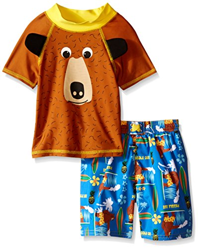 Price comparison product image Candlesticks Little Boys' Toddler Bear Rash Guard Set, Brown/Blue/Multi, 4T