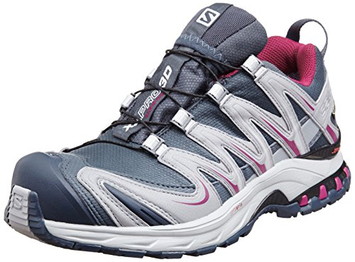 Salomon Womens XA Pro 3D GTX Trail Running Sneaker Shoe, Grey/Purple, 6.5