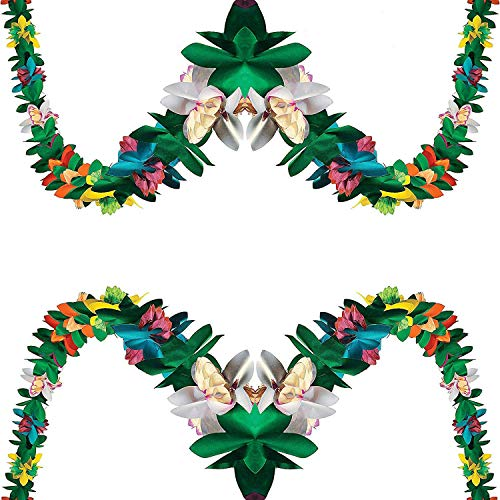 Tissue Flower Garland Tropical Hawaiian & Luau Party Decorations, 2 Pack, Each one is 9 ft long Great Moana Party Favors Supplies By 4E's Novelty