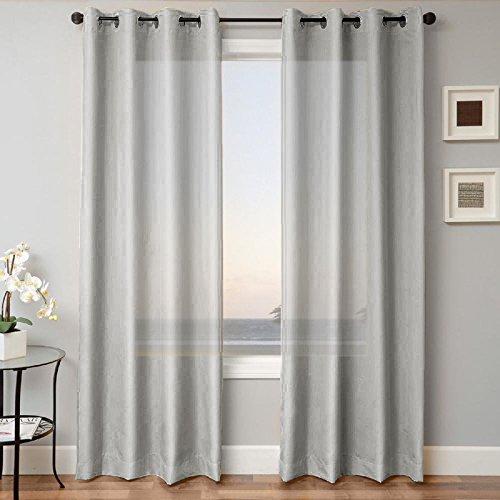 - LuxuryDiscounts 2 Piece Solid Gray Faux Silk Grommet Window Curtain Treatment Panel Drapes 54
