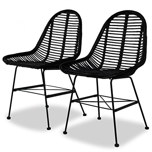 ir Natural Rattan Wicker Black Colonial Kitchen Home Seat ()