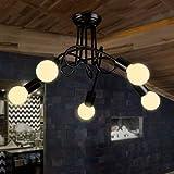 LightInTheBox Retro Industrial Loft Nordic Pipe Iron Ceiling Light Loft Lustre Lamps for Home Decor Restaurant Dinning Room Chandeliers Pendent Light (Black)