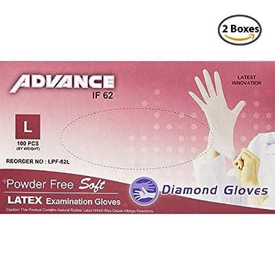 Diamond Gloves Advance Powder-Free Soft Latex Examination Gloves, 5.9 Mil, 6 Mil