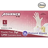 Diamond Gloves Advance Powder-Free Soft Latex Examination Gloves, 5.9 Mil, Large, 100 Count - 2 Boxes