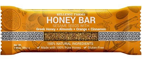 Hellenic Farms Honey Bar, Sesame Seeds/Greek Honey/Almonds/Orange/Cinnamon (Pack of 25) ()