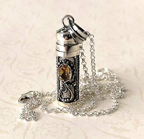 Orange Yellow Citrine or red Garnet 27mm Bali Sterling Silver Wish Locket Prayer Box Necklace -