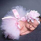 Tiaobug Neugeborenes Baby Rock Tutu Kleidung Trikot Kostüm Foto Prop Outfits Bekleidung Set (Rosa #2)