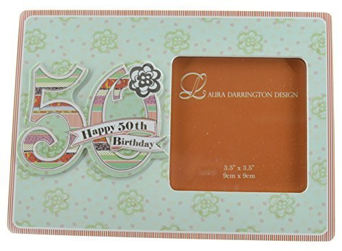 Laura Darrington Patchwork Collection 19cm Wooden Picture Frame - Happy 50th Birthday, 4
