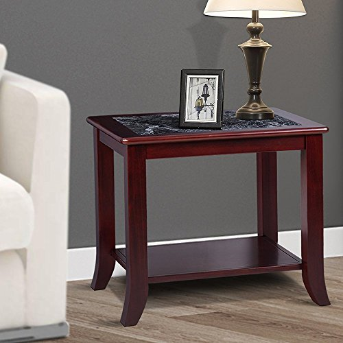 "PrimaSleep PR22TB01D 22"" H Natural Marble Top & Solid Wood Base, Coffee Side End Sofa Table,Black/Cherry Brown"