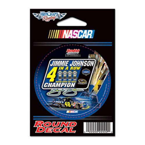 (Jimmie Johnson Nascar Sprint Cup 4 in a Row Champion Round Decal )