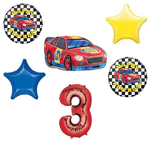 Race Car Theme 3rd Birthday Party Supplies Stock Car Balloon Bouquet Decorations