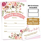 Boho Floral - Baby Shower Pink Invitations Girl with Envelopes and Diaper Raffle Tickets. Set of 25 Floral Fill in The Blank Style Invites with Envelopes - Floral Baby Shower Invitations Girl