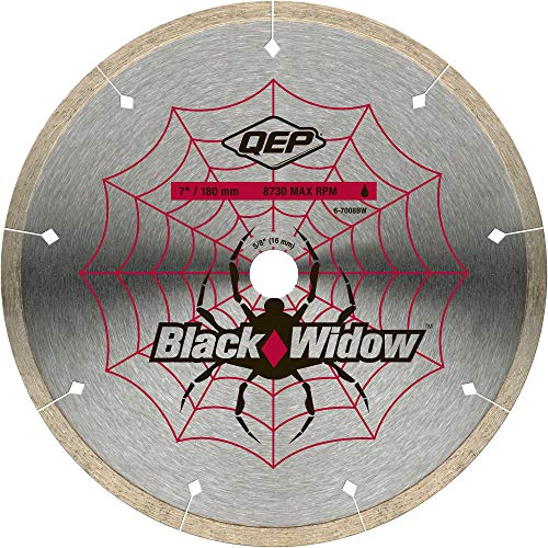 QEP 6-7008BW 7-Inch Black Widow Micro-Segmented Rim Diamond Blade, 5/8-Inch Arbor, Wet Cutting, 8730 Maximum RPM ()