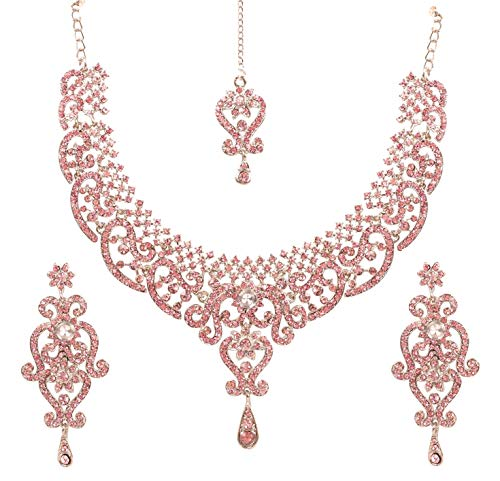 Touchstone Indischer Bollywood-Royal-Look Wunderschönes Designer-Schmuck-Collierset, verziert mit weißen Kristallen für Damen