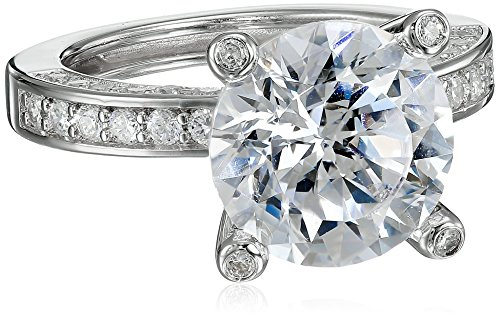 Womens Cubic Zirconia Accent - Platinum Plated 925 Sterling Silver 100 Facets Collection Solitaire Cubic Zirconia Ring with Channel-Set AAA Cubic Zirconia Accent, Size 7 (5 cttw)