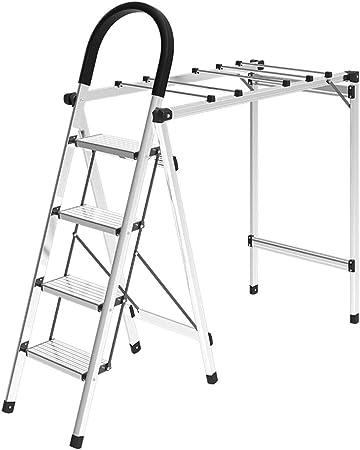 GSS-chair Escaleras Plegables Aluminio Ligero, Plegable 4 Pasos de Secado Escalera Plegable, Escalera de Extensión Cubierta Móvil de Múltiples Robusta Y Duradera (Color : Plata): Amazon.es: Hogar