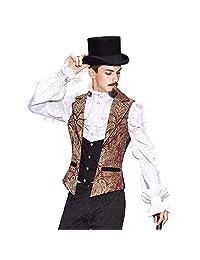 Devil Fashion Mens Gothic Steampunk Gentlemen Vest Retro Single-Breasted Brocade Waistcoat Printed Slim Suit Vest