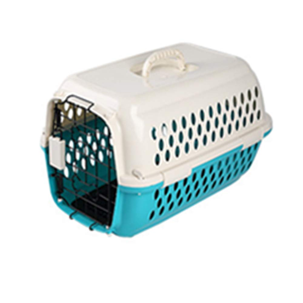 FZQ Pet Transport Box, Metal Door Ventilation Window, Upper and Lower Split Design, Environmentally Friendly Resin Material, Moisture and Corrosion Resistance,Green