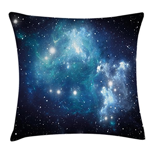 Ambesonne Space Throw Pillow Cushion Cover, Vibrant Celestial Supernova Scenery Dynamic Energy Andromeda Mystical Outer Space Picture, Decorative Square Accent Pillow Case, 18 X 18 Inches, Blue Celestial Throw