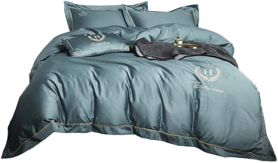 BestBed 寝具100%純粋な綿5枚完全なベッドセットX1の掛け布団カバーX3のピローケースとX1のフィットシートブルーを含む (Size : 1.8m (6 feet) bed)