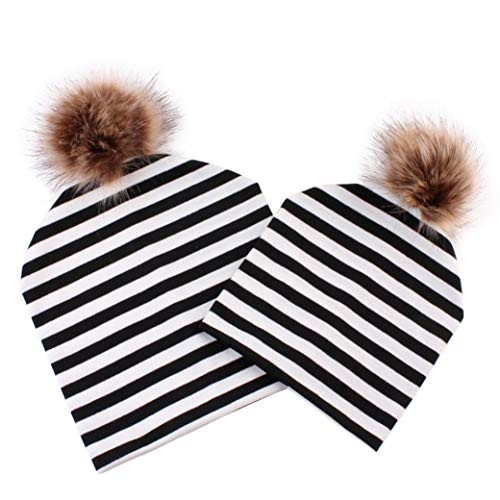 Autumn Winter MOM Baby Boys Girl Bobble Beanies Hats Hip-Hop Hat with  Hairball 2f000c961567
