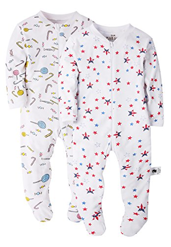 Candy and American Flag Baby Footed Pajama - 100% Cotton Zip Front Sleep and Play Sleeper 24M