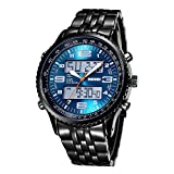 SKMEI Men's Quartz Digital Sports Military Army Full Steel Luxury Wrist Watch (Blue)