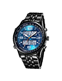 SKMEI Luminous Alarm Week 30M Waterproof Quartz Digital Mens Watch (Blue)