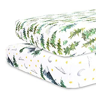Sorrel + Fern - Crib Sheets for Standard Mattress 2 Pack Premium Fitted Sheets - Buttery Soft Cotton Blend - Watercolor Trees and Mountains