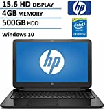 HP 15.6' HD Laptop Computer (Intel Dual Core Celeron N3050 up to 2.16 GHz Processor, 4GB RAM, 500GB HDD, USB 3.0, Webcam, HDMI, DVDRW, Wifi, Windows 10) (Certified Refurbished)