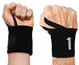 Ipow Adjustable Weight Lifting Training Wrist Straps Support Braces Wraps Belt Protector for Weightlifting Powerlifting Bodybuilding - For Women and Men,set of 2 (black)