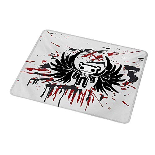 Gaming Mouse Halloween,Teddy Bones with Skull Face and Wings Dead Humor Funny Comic Terror Design,Pearl Black Ruby,Customized Rectangle Non-Slip Rubber Mousepad Gaming Mouse Pad 9.8
