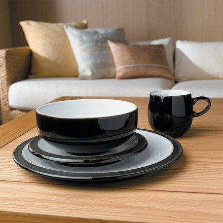 Denby Jet Black Small Plate and Grey Double Dip Mug, Set of 2 by Denby (Image #1)