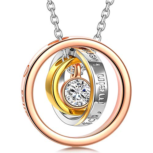 Kami Idea Trinity Halskette, Geschenk zum Muttertag, Trinity, DREI Kreise Anhänger, Kristall von Swarovski, Roségold, Damenschmuck, Geschenk Verpackt - Du bist der hellste Stern in Meinem Universum