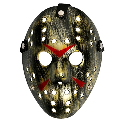 Costume Prop Horror Hockey Halloween Myers (adult, gold black mask) (Hockey Mask Jason)