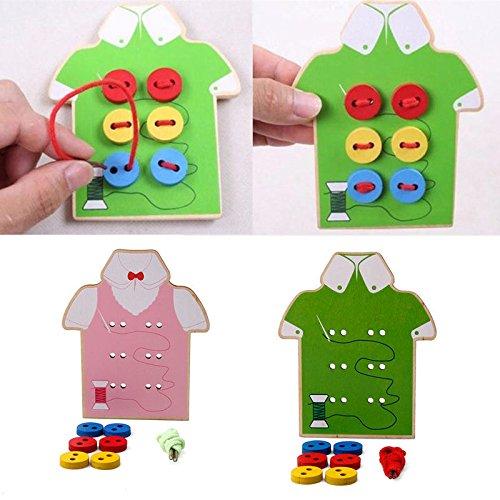 キッズ 知育玩具 子供用 ビーズ レースボード 木製玩具 ボタンで縫製   B06XQMLXFF