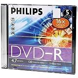 HOODM4S6S05F - PHILIPS DM4S6S05F 17 4.7GB 16x DVD-Rs with Slim Jewel Cases, 5 pk