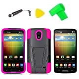 T-Stand Hybrid Phone Case Cover Cell Phone Accessory + Extreme Band + Stylus Pen + Lcd Screen Protector + Yellow Pry Tool For Lg Lucid 3 Vs876 (T-Stand Black Pink)