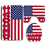3 Piece Bathroom Rugs Set Mats,Shower Liner Contour Mat,Soft Anti-Slip Shower Bath Rugs,Bathroom Decorative for Women (I Voted in American Flag)