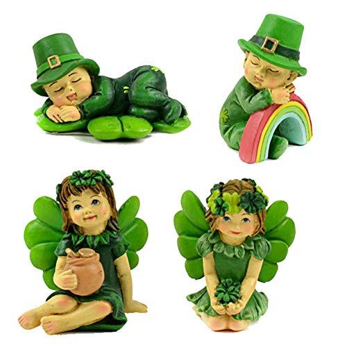 Miniature Dollhouse FAIRY GARDEN - Lucky Irish Kids - Set of 4 - Accessories