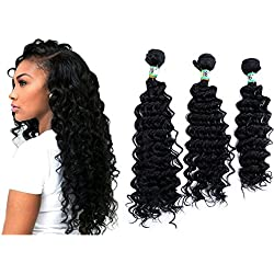 """Yonis Deep Wave Hair Extensions Weft Weave Natural Black Color 3 Bundles Synthetic Human Hair Mixed Length (16"""" 18"""" 20"""")(DO NOT COMB THE HAIR)"""