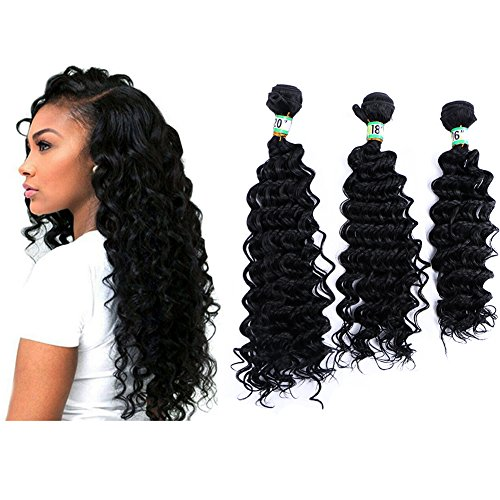 Yonis Deep Wave Hair Extensions Weft Weave Natural Black Color 3 Bundles Synthetic Human Hair Mixed Length (16