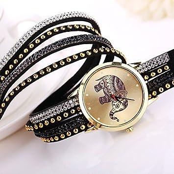 2015 nueva marca de las mujeres relojes de diseño de moda reloj elefante (Color : Negro , Talla : Para Mujer-Una Talla) : Amazon.es: Deportes y aire libre