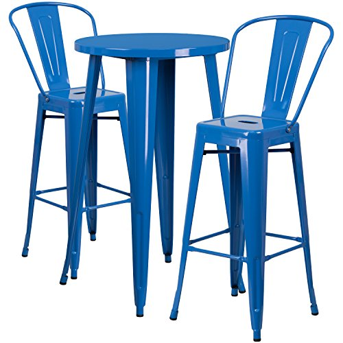 Flash Furniture 24'' Round Blue Metal Indoor-Outdoor Bar Table Set with 2 Cafe Stools