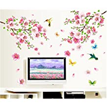 BIBITIME Pink 2 Branches Cherry Blossoms Trees Wall Decals Spring Flower Floral Walls Stickers Hummingbird Butterflies Decor Vinyl Rome Home Arts Murals,DIY Size: 43.31 * 47.24 IN